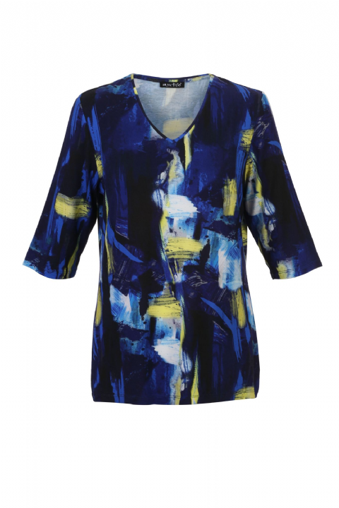 MARBLE  Navy and Yellow Patterned 3/4 Sleeve Blouse